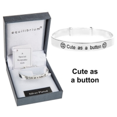 equilibrium cute as button silver plated baby bangle