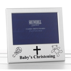 satin silver occasion 5x3 baby's christening frame