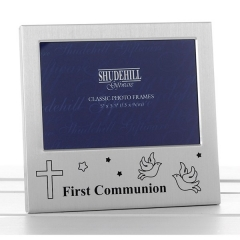 satin silver occasion frame first communion 5x3