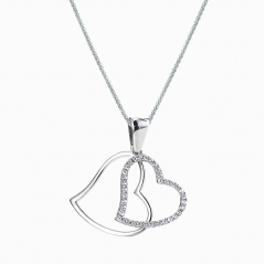 double cz heart necklace