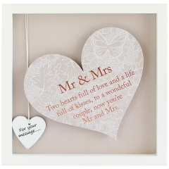 'mr & mrs' heart frame