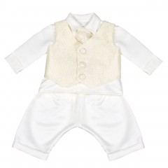 boys vivaki checked christening suit in gold