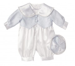 boys christening romper in blue