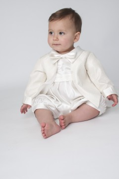 boys vivaki diamond christening romper in ivo