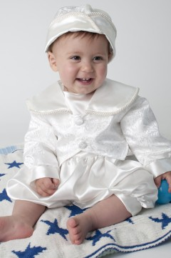 boys christening romper in white
