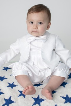 boys vivaki diamond christening romper in whi