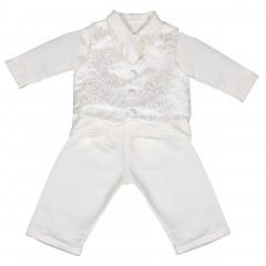 boys vivaki paisley christening suit in ivory