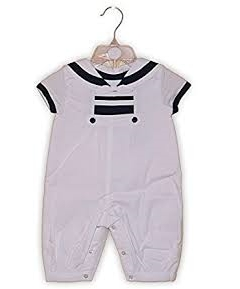 rock a bye baby boutique baby boys sailor traditional spanish style white/navy romper suit cotton blend