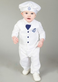 4 piece christening suit white/navy