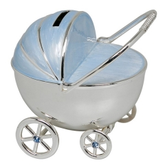 silver diamond pram money box blue
