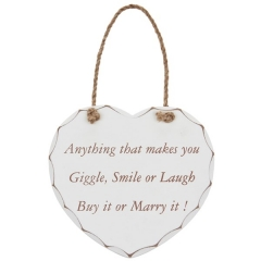shabby chic heart plaque smile