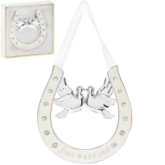 silver cream just married horseshoe