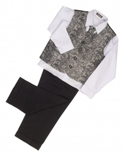 vivaki 4 piece paisley suit in silver